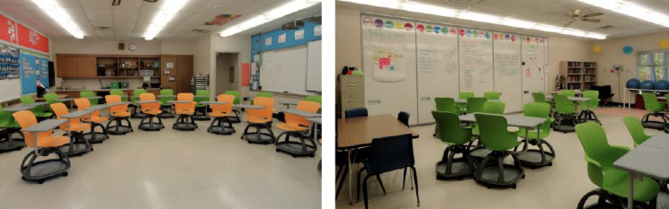 Haskell - Brady Middle School - Ethos Chairs with Universal Arm Tablet - Horseshoe and Small Groups